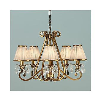 Interiors 1900 Oksana Brass 5 Light Chandelier With Beige Shades