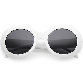 Großen Oversize klobige ovale Sonnenbrille breite Arme Neutral farbige Linse 55mm