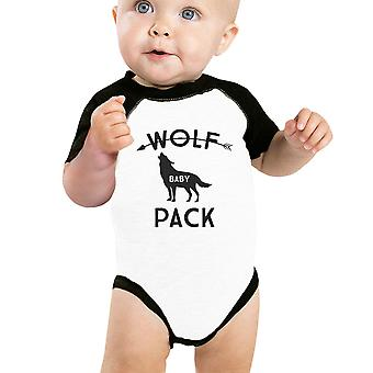 Wolf Pack Baby Baseball Bodysuit Black Raglan Gift For New Parents