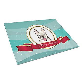 French Bulldog Merry Christmas Glass Cutting Board Large