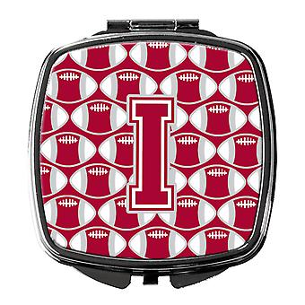 Letter I Football Crimson, grey and white Compact Mirror