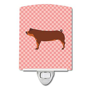 Carolines Treasures  BB7942CNL Duroc Pig Pink Check Ceramic Night Light