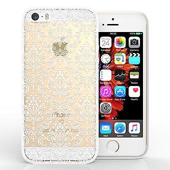 iPhone 5 y SE con motivos estuche duro - Damasco blanco