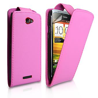 Yousave Accessories HTC One S Leather-Effect Flip Case - Pink