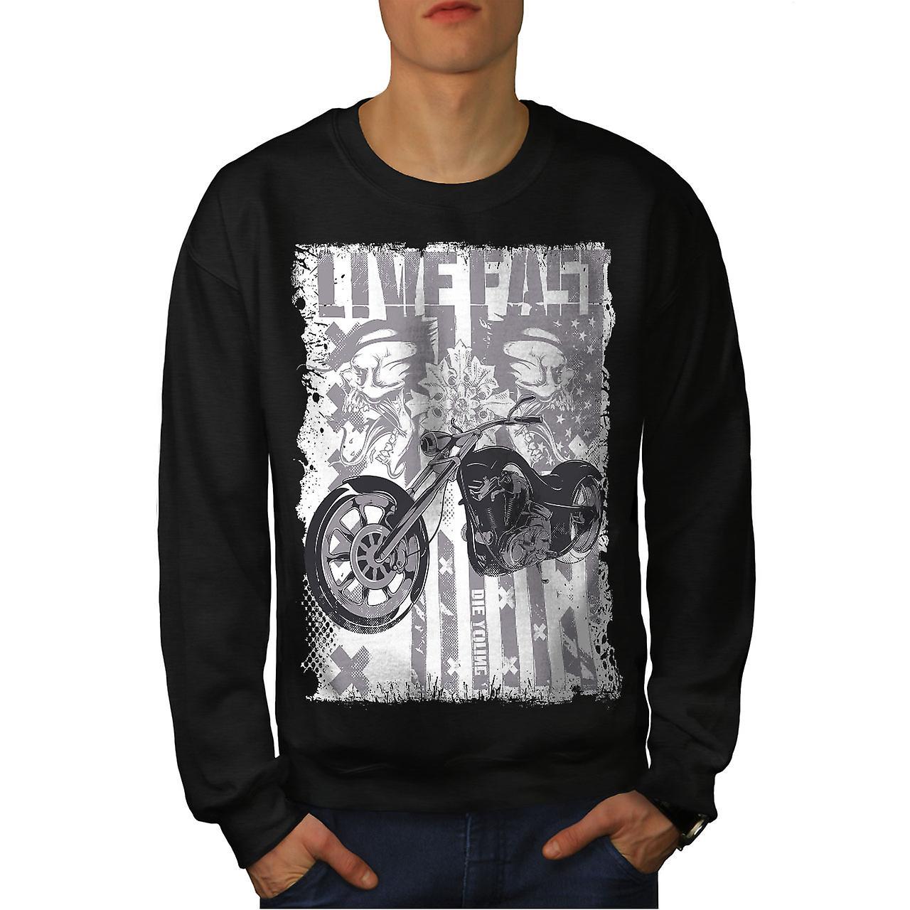 USA Flagge Biker Männer BlackSweatshirt Leben | Wellcoda
