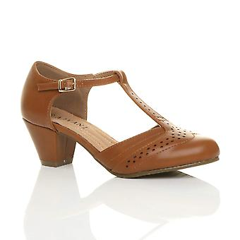 Ajvani womens mid laag blok hiel t-bar Sarto comfort rubber enige Hof schoenen sandalen