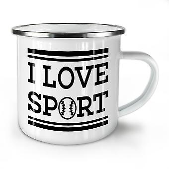 I Love Sport Tennis Funny NEW WhiteTea Coffee Enamel Mug10 oz | Wellcoda