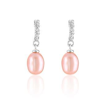 Boucles d'Oreilles pendantes Femme Perles de Culture Lavande, Cubic Zirconia et Argent 925/1000