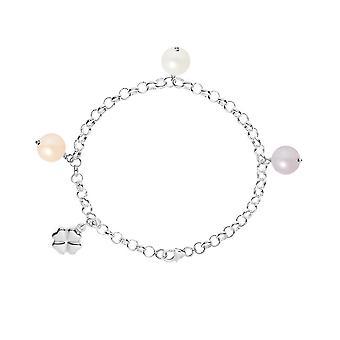 Kleeblatt Armband Perle der Kultur von Süßwasser weiß, Angeln und Lavendel und Silber 925
