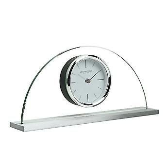 London Clock 1922 12cm Titanium Magnitude Glass & Metal Half Moon Mantel Clock