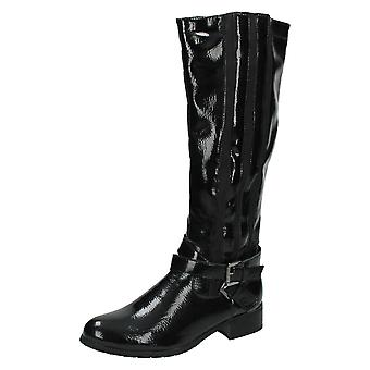Ladies Spot On Knee High Boots / Two Buckle Strap Design F50154