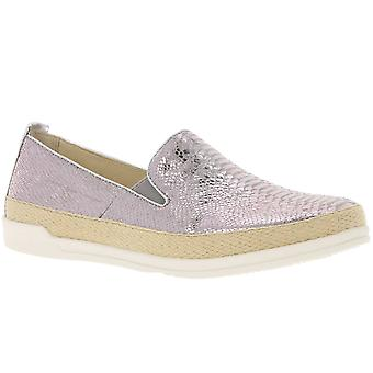 CAPRICE slipper shoes snakeskin look silver