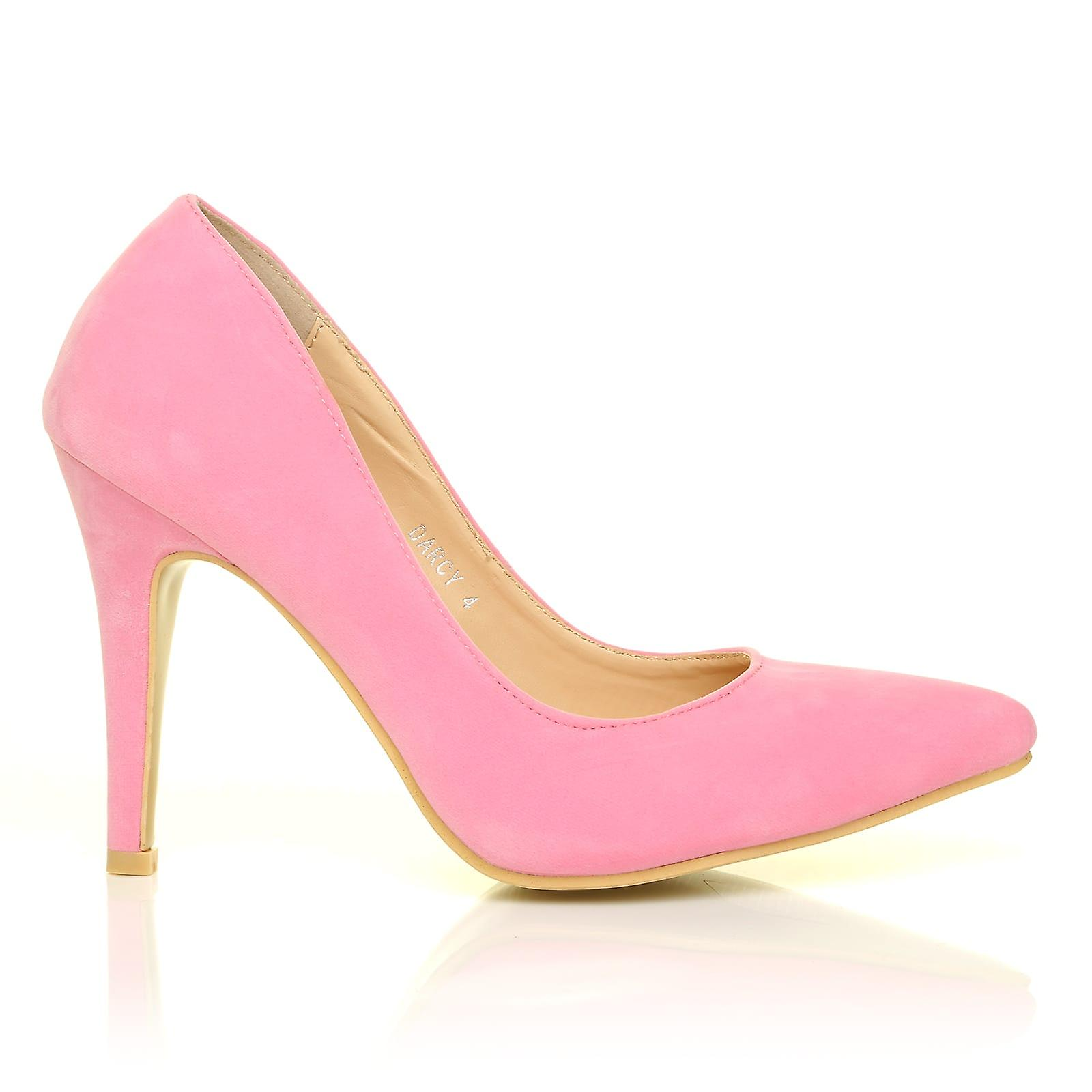 DARCY Baby Pink Faux Suede Stilleto Shoes High Heel Pointed Court Shoes Stilleto 4f2604