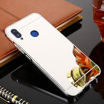 Spiegel / Mirror Alu Bumper 2 teilig mit Abdeckung Silber für Huawei P20 Lite Tasche Hülle