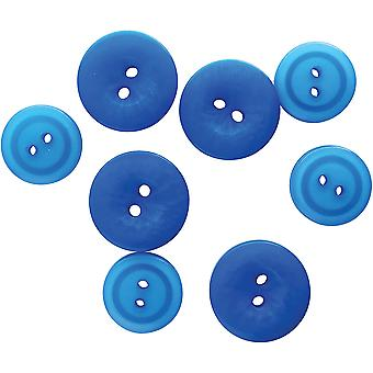 Button Up! Snack Pack Buttons 8/Pkg-Blue Skies