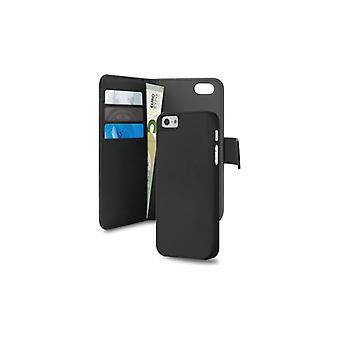Puro iPhone 5/5S Eco-Leath. Wallet w/Magnetic Cover Blk