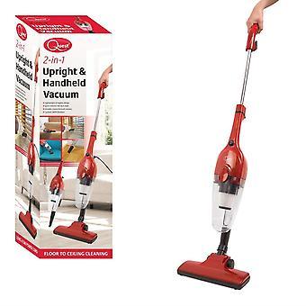 Quest Vacuum Cleaner 2-in-1 Upright & Handheld, HEPA Filter, Corded, Lightweight & Bagless Design - Red