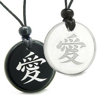 Amuletter kærlighed par bedste venner Universal gensidig kærlighed Kanji magiske kvarts Onyx vedhæng halskæde