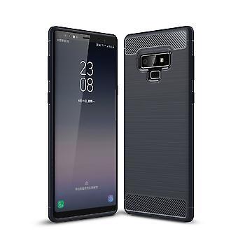 Samsung Galaxy note 9 cover silicone blå carbon ser sag TPU telefon sag kofanger