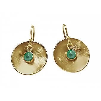 Ladies - earrings - earrings - 925 Silver - gold plated - shell - emerald - green - 2 cm