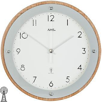 Radio controlled wall clock wall clock radio veneered wood cabinet printed mineral glass