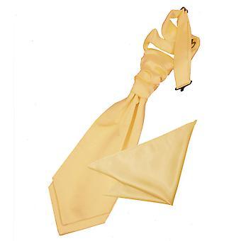 Pale Yellow platte satijnen bruiloft Cravat & zak plein voor jongens instellen