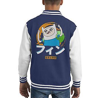 Adventure Time Finn Japanese Text Kid's Varsity Jacket
