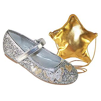 Mädchen Silber Glitzer Ballerina Partei Schuhe und Tasche set