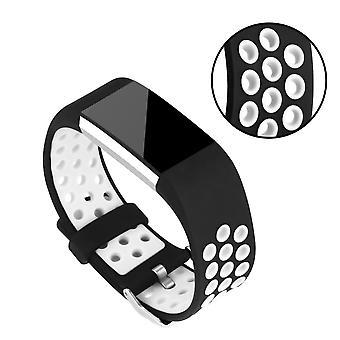 Cinturino in silicone per il Fitbit carica 2-bianco/nero
