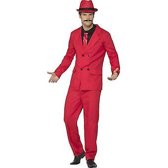 ズート ・ スーツ、ジャケット、ズボン、帽子、赤モック シャツ ・ ネクタイ
