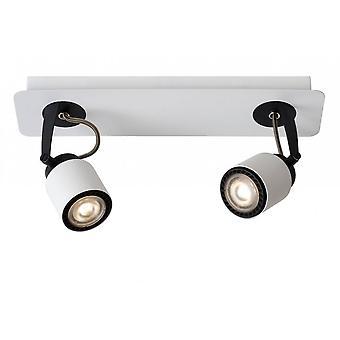 lucide Dica moderno LED retangular Metal branco e preto, Spot de luz de teto