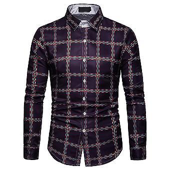 ab092214 Cloudstyle menn skjorte Colorblocked pledd lange ermer skjorte