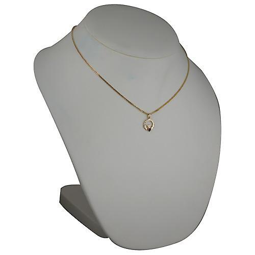 9ct Gold 20x15mm diamond cut garnet set Claddagh Pendant with a curb Chain 18 inches