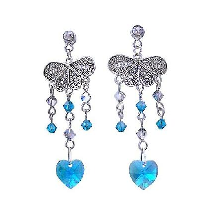 Heart Dangling Blue Zircon Swarovski Crystal Silver Chandelier Earring