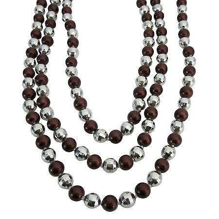 Long Pearl Necklace Brown Pearl Multifaceted Fancy Beads Jewelry
