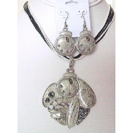 Multistrand Black & White String w/ Silver Ethnic Pendant Earrings Set