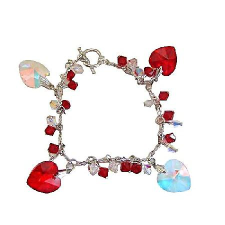 Romantic Jewelry Genuine Swarovski Siam Red Crystal & AB Crystal Bracelets w/ Genuine AB & Siam Red Crytal Heart