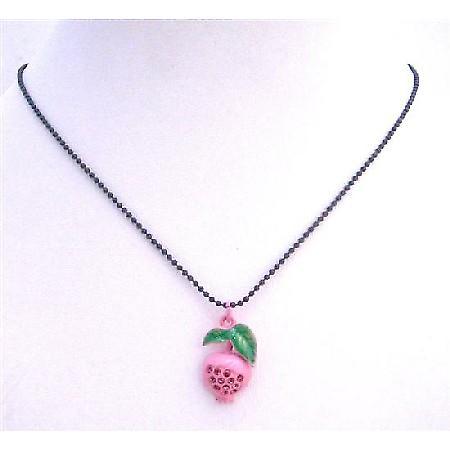 Shimmering Pink Enamel Fruit Pendant Choker w/ Black Beaded Necklace