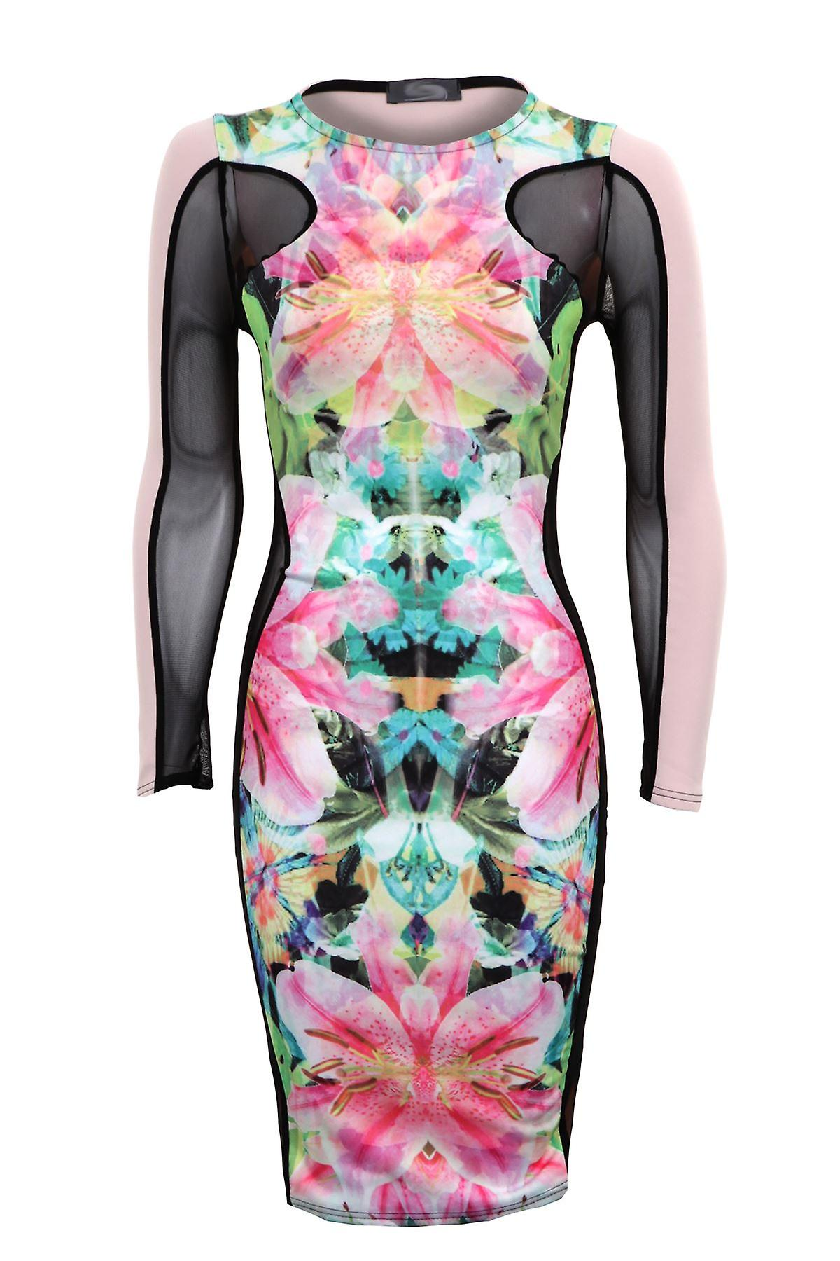 New Ladies Long Mesh Sleeves Floral Print Women's Bodycon Dress