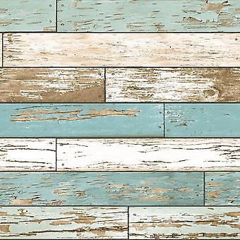 A rue imprime effet bois papier peint en Difficulté Scrap en bois brun blanc bleu sarcelle