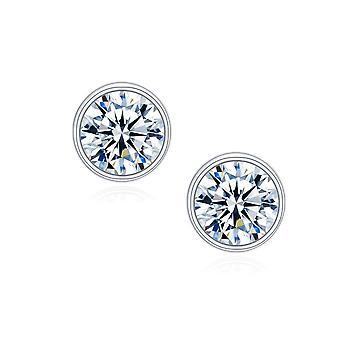 925 Sterling Silver Solitaire Bezel Aaaaa Cz Stud Earrings