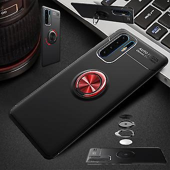For Huawei P30 Lite magnetic metal ring ultra thin case black / red pouch case cover cases protection