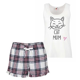 Cat Mum Pink Tartan Pyjamas