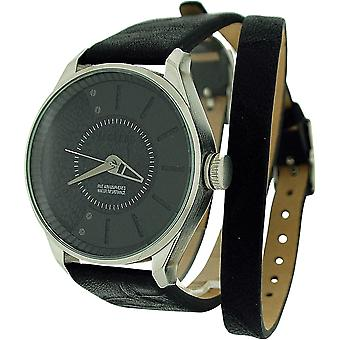 Firetrap Gents Analogue Black Dial Black Leather Wrap-Around Strap Watch FT1058