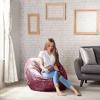 Crushed Velvet Look 'Palais' Mulberry Large Classic Round Bean Bag