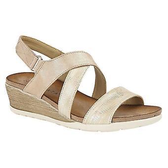 Ladies Womens Sandals Crossover Slip On Mid Wedge Heel Shoes