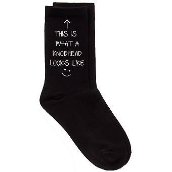 Mens This Is What A Knobhead Looks Like Black Calf Socks