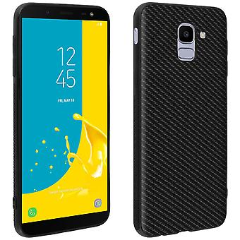 Caja de cartera Flip, cubierta de fibra de carbono para Samsung Galaxy J6 - Negro
