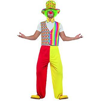 Big Top Clown Kit Multicolor con chaleco Bow Tie y Sombrero Carnival Circus Unisex