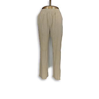 Denim & Co. vrouwen ' s broek nieuwigheid Crinkle pull-on Straight beige A266466